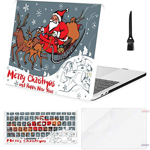 MacBook Pro 13 Inch Case Image Santa Claus Sleigh Pulled MacBook Air 13 Inch Case with Keyboard Cover Screen Protector Cleaning Brush