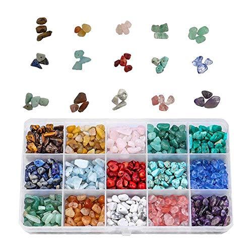 Kongming Natural Chip Stone Beads, Perlen für die Schmuckherstellung - 15 Stone Crystal Chips und Natural Gemstone Beads Unregelmäßige Chips Stone Beads Set für die Schmuckherstellung