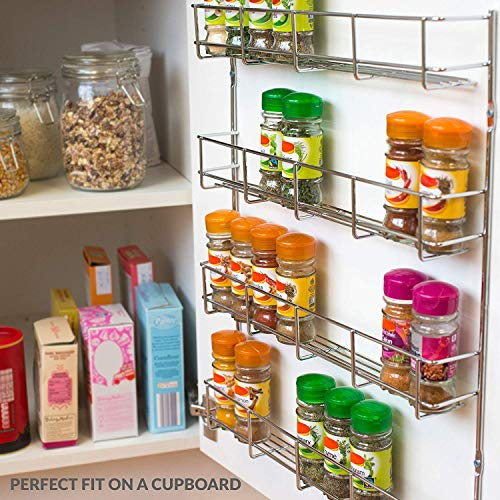 Andrew James Spice Rack Wall Mounted or for Cupboard Door | Large Metal Storage Organiser Empty Chrome Plated Iron | Fixings Included | Ideal for Inside Kitchen Unit Door