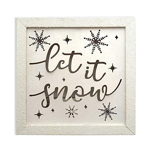 Schone Products (UK) LED Let It Snow White Finish Frame – Funzionamento a batteria – Lo spirito del Natale