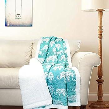 "Lush Decor Elephant Parade Fuzzy Reversible Sherpa Throw Blanket 60"" x 50"" Aqua"