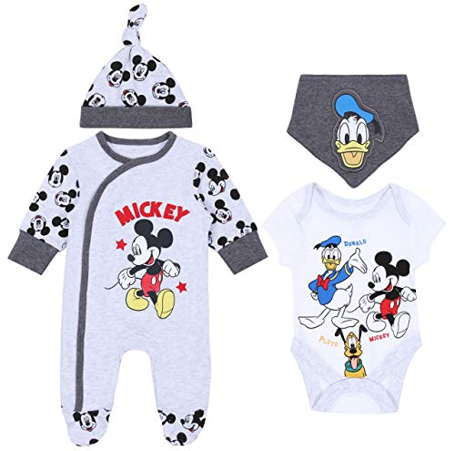 Grijze rompers, body, slabbetjes, muts Mickey Mouse Disney