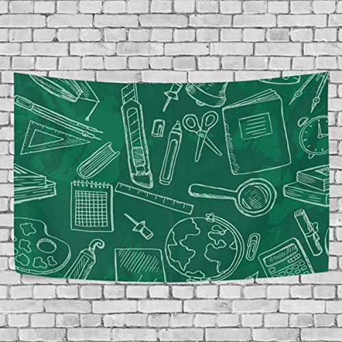 JONINOT Escuela Iconos papelería Pizarra Dormitorio Tapiz Exclusivo Colgante de Pared Multi Purplantean tapices de Fondo para Sala de Estar, Entrada y Cocina. 60x40 Pulgadas