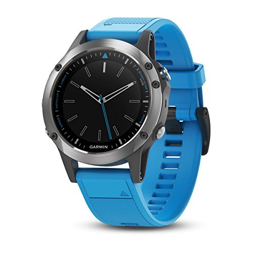 Garmin quatix 5, Multisport Marine Smartwatch, Comprehensive Boat Connectivity, Stainless Steel with Blue Band