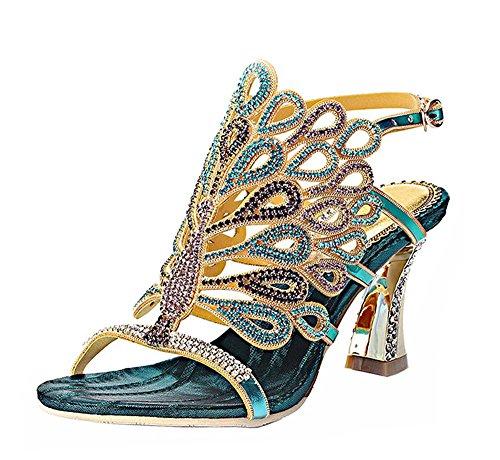 Dayiss Elegant Damen High Heels Sandalen mit Strass Pfau Pattern Handgemacht Party Club Abendschuhe (EU 39/ Label 40, Blau)