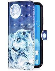 Compatible con Samsung Galaxy S10 Funda Piel PU Cuero,Billetera Flip Libro Tapa Purpurina Glitter Brillante Carcasa Multifuncion Soporte Plegable,Cierre Magnético,Ranura tarjetas Funda,Lobo Azul