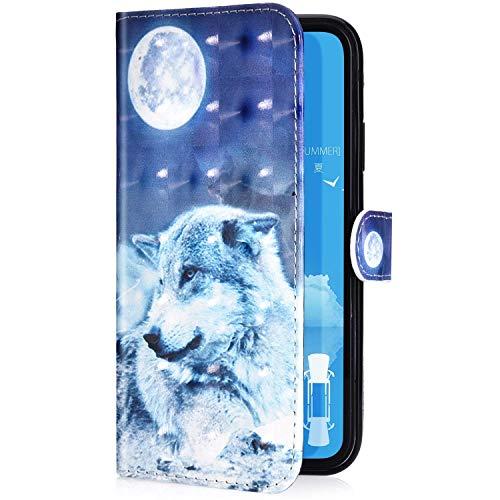 Uposao Kompatibel mit Samsung Galaxy S8 Handyhülle Leder Tasche Bling Glitzer 3D Effekt Glänzend Muster Hülle Flip Wallet Case Brieftasche Klapphülle Ständer Kartenfach,Mond Wolf