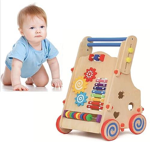 GL Babywanderer Baby Walker Holztrolley Multifunktionspuzzle Walker einstellbar mit Math Pairing Klopfer