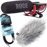 Rode Videomic Rycote Richtmikrofon Kameramikrofon + keepdrum WS-WH Fell-Windschutz + keepdrum Verlängerungskabel Miniklinke 3m