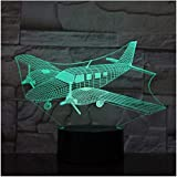 Nuevo 3D Illusion Night Light Festival Air Fighter Planes 7 Lámpara de color 3D Led Night Lights para niños Touch USB Table Baby Sleeping Aircarft Gift