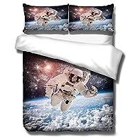 3Dスペース宇宙飛行士パターン寝具セット、宇宙飛行士のための大人のキルト+ 2ピローケース、枕カバー寝具、シート Space-180x210