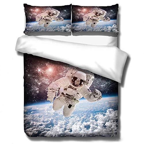 GUANYUA Conjunto Ropa Cama Patrón Astronauta Espacio 3D, Edredón Adultos para Los Amantes del Astronauta + 2 Pillowcasas, Funda De Almohada Ropa Cama, Hojas Space-200x200
