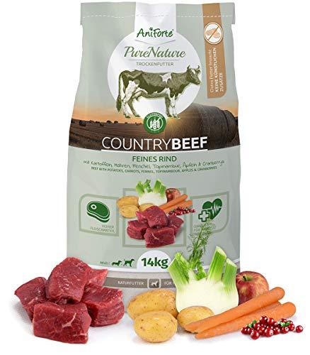 AniForte Natürliches Hunde-Futter Trockenfutter Country-Beef 14kg, Saftiges Feines Rind-Fleisch, 100{6de113d79b351a7e20a653d627af047e026c1e3b96369d1a427245898ea6e74b} Natur Allergiker, Getreide-Frei, Glutenfrei, mit Kartoffeln, Ohne Chemie und künstliche Vitamine