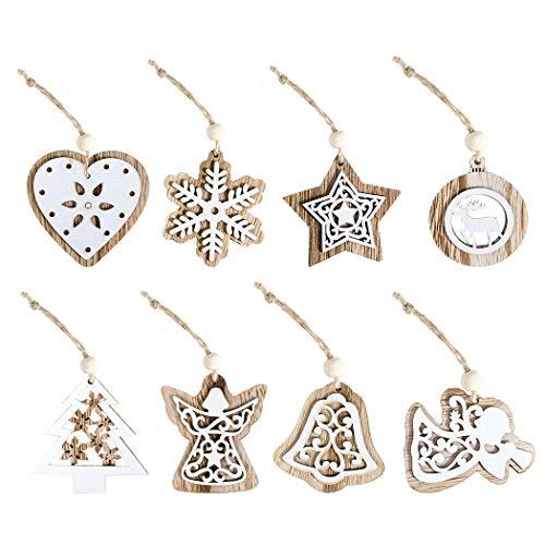 8PCS Ornamento per appendere il Natale di moda Scavare l'ornamento dell'albero di Natale in legno-Decorazioni natalizie fai da te