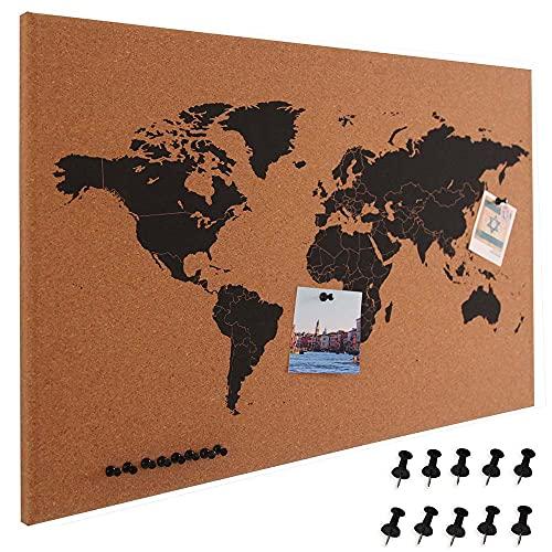 BAKAJI Pannello Bacheca Mappamondo in Sughero Cartina Geografica Mappa del Mondo Telaio Legno Dimensione 60 x 40 cm da Parete Muro Design Moderno con 10 Puntine Idea Regalo