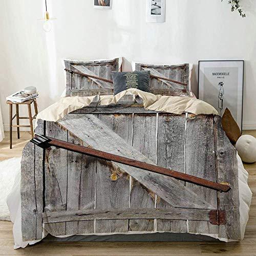 Juego de funda nórdica beige, puerta de granero de madera envejecida con cerraduras cruzadas oxidadas Diseño de granja occidental antigua abandonada, juego de cama decorativo de 3 piezas con 2 fundas