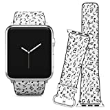 Compatible with Apple Watch (38/40 mm) Series 5, 4, 3, 2, 1 // Leather Replacement Bracelet Strap Wristband + Adapters // Music Notes