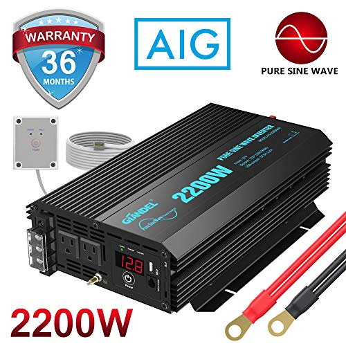 Pure Sine Wave Power Inverter 2200Watt DC 12volt to AC 120volt with Dual AC Outlets and 2.4A USB Port & LED Display Remote Controller for RV Trucks Boats and Emergency