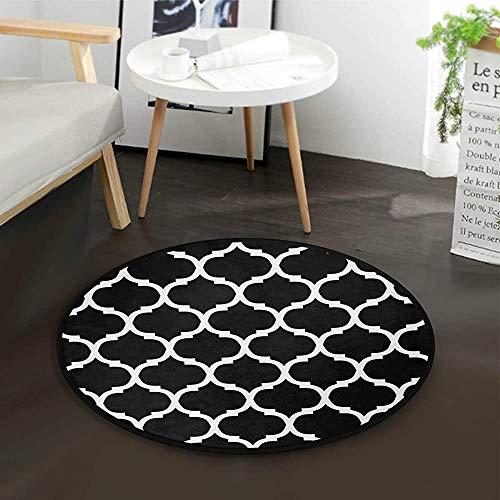W-WEE Schwarzer und weißer marokkanischer Gitter-Teppich des runden Bereichs für Wohnzimmer-Schlafzimmer
