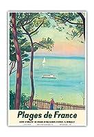フランスのビーチ - シルバーコースト、アルカション湾 - ビンテージ旅行ポスター によって作成された アルベール・マルケ c.1950 - アートポスター - 33cm x 48cm