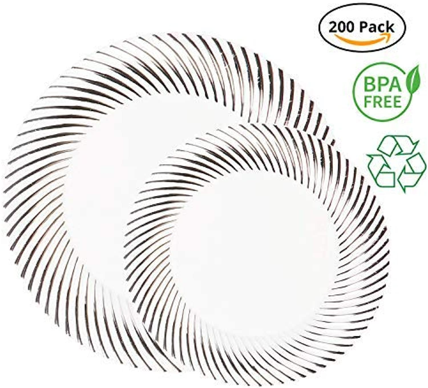Party Joy 200-Piece Plastic Dinnerware Set   Swirl Collection   (100) Dinner Plates & (100) Salad Plates   Heavy Duty Premium Plastic Plates for Wedding, Parties, Camping & More (Silver Swirl)