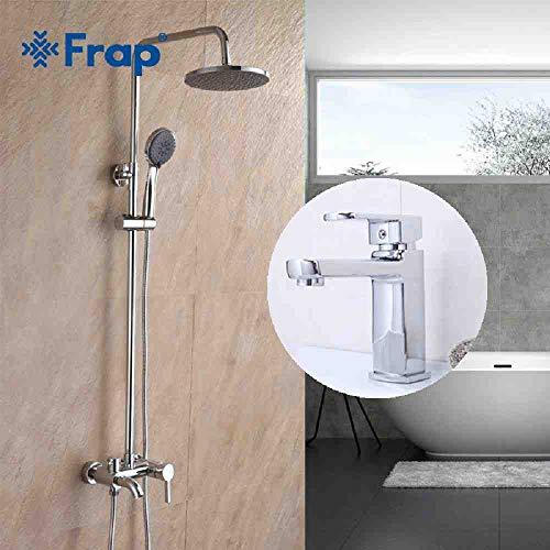RSZHHL Grifo Grifo de ducha de combinación de baño de estilo moderno con grifo para lavabo Cabezal de ducha de agua fría y caliente Cromo montado en la pared F2416 F1073