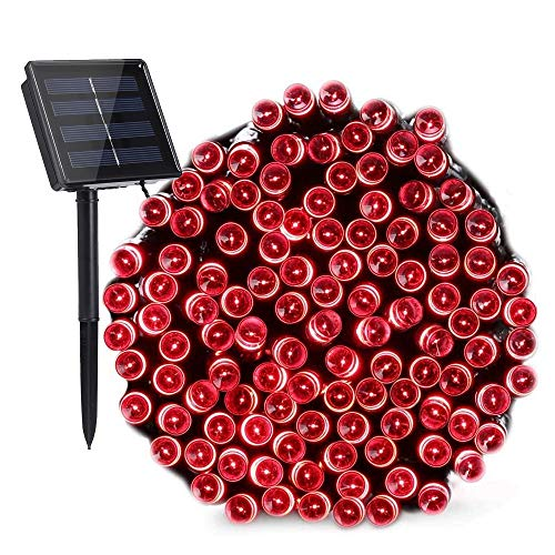 Toodour Solar Red String Lights, 72ft 200 LED 8 Modes Outdoor String Lights, Waterproof Solar Fairy Lights for Garden, Patio, Fence, Holiday, Party, Balcony Decorations (Red)