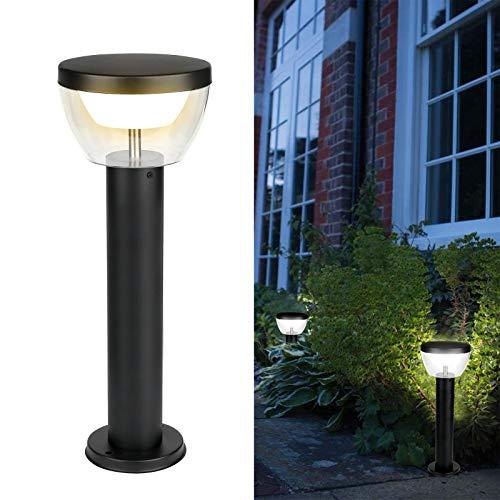 HLFVLITE Luz de poste para exteriores Bolardo Luz de camino de paisaje LED de acero inoxidable, Linterna de lámpara de jardín impermeable IP44, 3000K Blanco cálido, 550LM