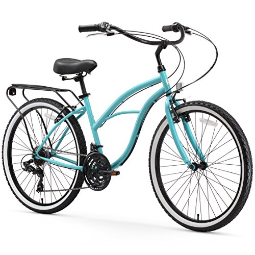 """sixthreezero Around The Block Women's 21-Speed Beach Cruiser Bicycle, 26"""" Wheels, Teal Blue with Black Seat and Grips"""