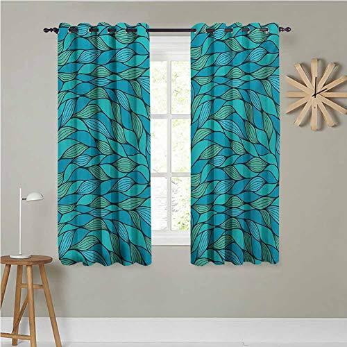 Cortinas de ventana para sala de estar/dormitorio de 46 x 90 pulgadas, juego de 2 cortinas abstractas con diseño de ondas marinas con estampado hipster, azul y verde menta