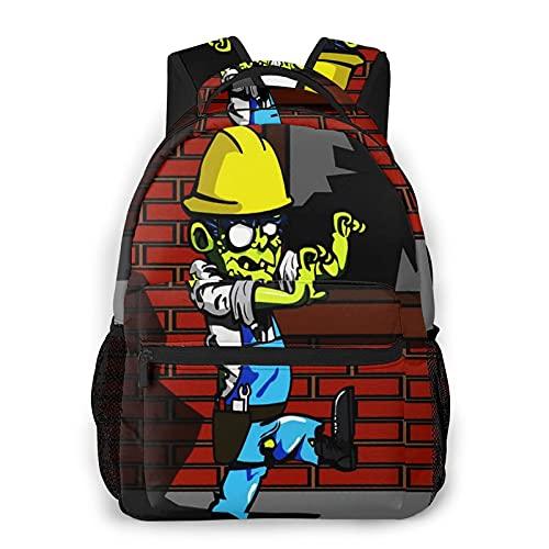 USGYY Rucksack Männer und Damen Baumeister Zombie im Schutzhelm, Laptop Rucksäcke, Kinderrucksack Schulrucksack Daypack für Jungen Mädchen