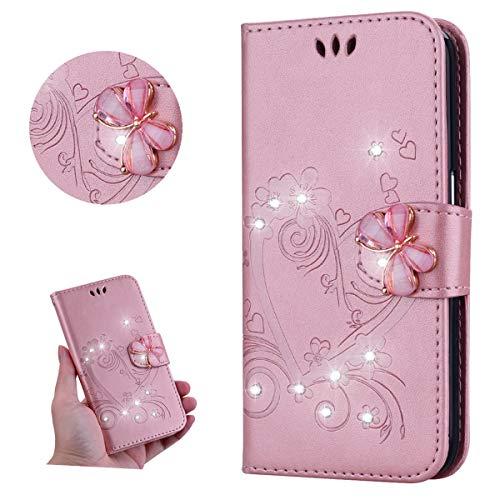 Miagon für Samsung Galaxy M30 Leder Hülle,Diamant Schmetterling Geprägt Liebe Herz Blumen Magnetverschluss Kunstleder im Bookstyle Schutzhülle Beirftasche