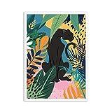 LiMengQi Flamingo Leopard Jungle Carteles nórdicos e Impresiones Monstera Leaf Lienzo Pintura Cuadros de Arte de Pared para la decoración del hogar de la Sala de Estar (sin Marco)