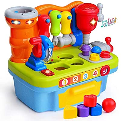 ORWINE Musical Learning Workbench Toddler Toys for Boys Girls Kid Baby Early Education Toys for 2 3 4 Years Old Construction Workbench Pretend Play Sound Effect Light Shape Sorter Tool Birthday Gifts
