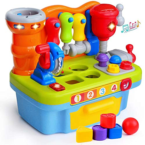 ORWINE Musical Learning Workbench Toddler Toys for Boys Girls Kids Baby Early Education Toys Construction Workbench Pretend Play Sound Effect Light Shape Sorter Tool Birthday Gifts