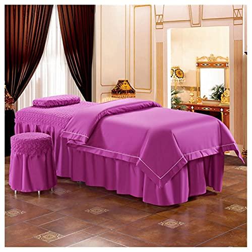 Couleur Massif Massage Table Jupe Tabouret Couverture Beauté Lit Du Visage Literie Coton Dentelle...