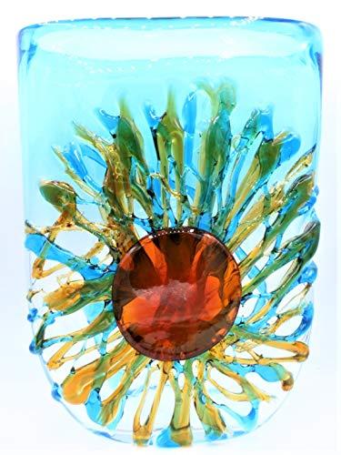 Kleurrijke vaas van gekleurd glas; handgemaakt in Murano-glas, volledig gemaakt door de Italiaanse maestri.