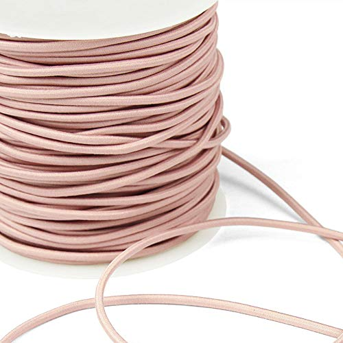 3 Yards of REILLY 3mm Round Elastic Cord, Sweet Blush Pink