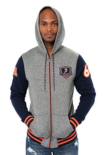 Ultra Game NFL Denver Broncos Mens Full Zip Soft Fleece Hoodie Letterman Varsity Jacket, Team Color, X-Large