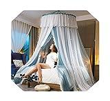 Eileen Ford Net For Twin | Princess Style Hung Dome Mosquitera Cortina de Encaje Redonda para el hogar Textil Cama Canopy Cuna Tienda de Malla de poliéster Girls-LAN con lámpara-1.8m (6 pies) Cama