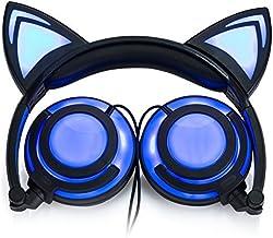 هدفون سیم گوش گربه ای سیمی با کابل شارژ USB (سیاه)
