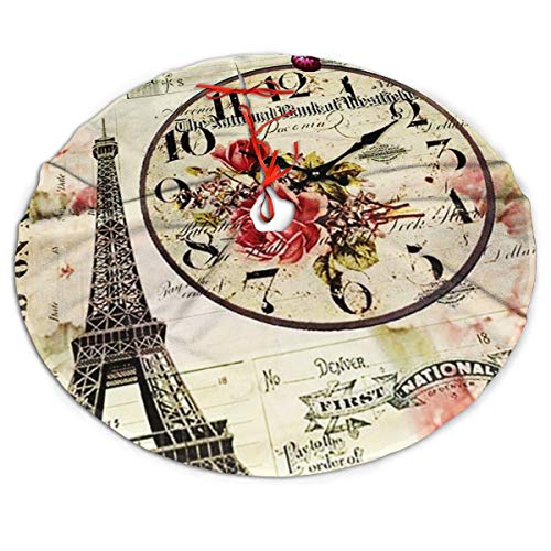 Efyh Christmas Tree Skirt Decoupage Vintage Paper Vintage Paris Paris Art Art Snowman Xmas Tree Skirt Holiday Festive Decorations Ornaments Party Supplies 30'