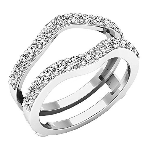 Dazzlingrock Collection 1.60 Carat (ctw) 14K Round Cut Cubic Zirconia Ladies Wedding Guard Double Ring, White Gold, Size 6