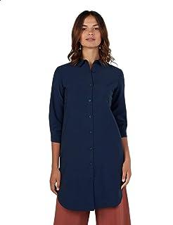 Splash Plain Three Quarter Sleeves Long Shirt for Women