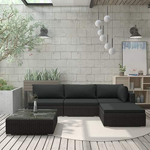 UnfadeMemory Garten-Lounge-Set Gartensofa mit Sitzkissen und Rückenkissen Poly Rattan Gartensofagarnitur Outdoor Rattansofa Loungecouch Gartenmöbel mit Couchtisch (Schwarz, 5-TLG. Set)