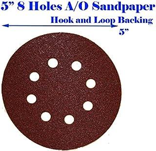 YPSNH Sandpaper Detail Sander Paper Round Adhesive Sanding Discs Multitool Mouse Sander Sandpaper 80 PCS 5Inch 8 Hole Hook and Loop Sander Pads 40 60 80 100 120 150 180 240 320 400 Grit