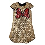 Disney Minnie Mouse Gold Sequin Shift Dress for Girls- Size 9/10 Multi