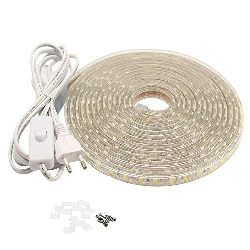 Ruban LED 6 Mètres avec Interrupteur 220V 5050 IP65 étanche, Blanc Chaud