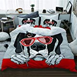 WOTAKA Bedding de Cama,Perro Gran danés con una Parrilla roja Gafas fotomatón,Microfibra (Funda Nórdica 220 x 240cm + 2 Funda de Almohada 50 x 81 CM)