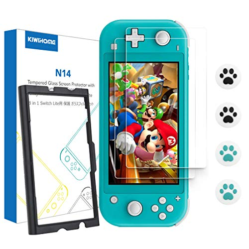[2 Pack] Screen Protector for Nintendo Switch Lite, KIWIHOME Tempered Glass HD Screen Film with Cat Claw Thumb Grip Caps and Easy Tools Accessories for Switch Lite 2019